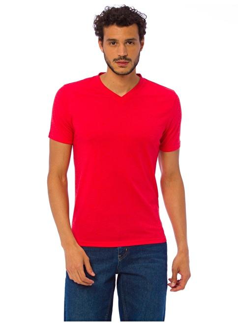 LC Waikiki V Yaka Tişört Kırmızı